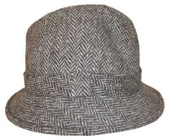 Glen Appin Harris tweed drop drim hat grey herringbone